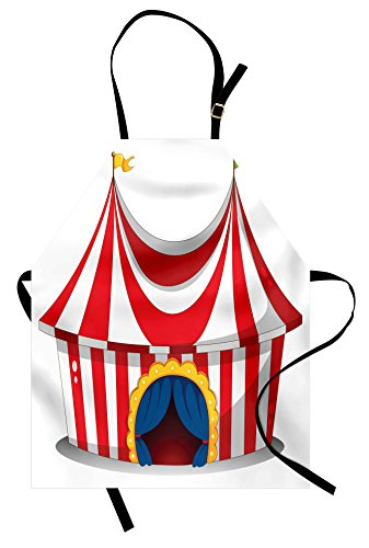Ambesonne Circus Apron, Illustration of Retro Circus with Flag Nostalgic Fun Festival Carnival Venue Artistic, Unisex Kitchen Bib Apron with Adjustable Neck for Cooking Baking Gardening, Red White