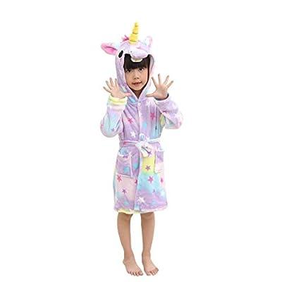 Kids Soft Bathrobe Comfy Unicorn Flannel Robe Unisex Hooded Gift All Seasons Sleepwear