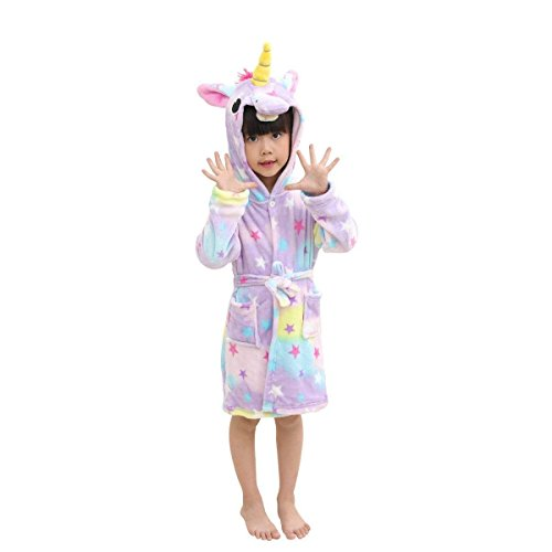 Long Fleece Girls Robe Sleeved (Kids Soft Bathrobe Comfy Unicorn Flannel Robe Unisex Hooded Gift All Seasons Sleepwear)