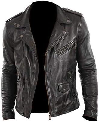 UZ Global Proteous Flexi-Closure Black Vintage Flight Bomber Leather Jacket Mens with Distressed Finish