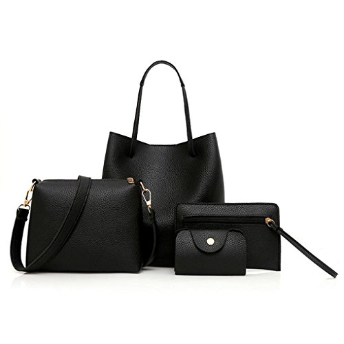 Black PU Purse Bag Shoulder Women Girls for Bag Women Bags BURFLY of Holder Leather 4 Handbag Set Crossbody Bag Tote Card 4Pcs Package Fashion EvgwqwzP