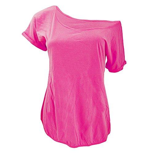 Maglietta Rosa 100 Scollo amp;C Donna Ampio B Cotone A5Bqg