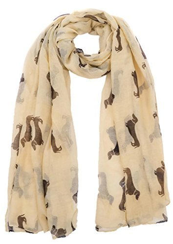 Dachshund Dogs Print Scarf - All Seasons Scarf - Large Size - Small Mini Sausage Dog (Cream) (Cream Sausage)