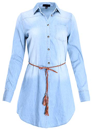 Ladies' Code 3/4 Roll Up Sleeve Denim Belted Shirt Dress Light Blue S Size