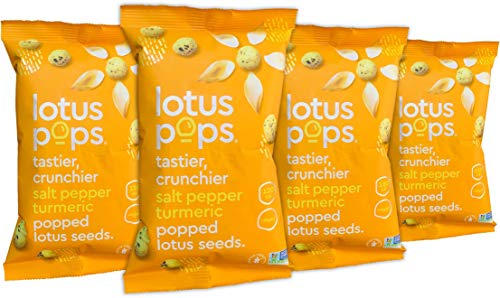 Lotus Pops - Popped Lotus (Water Lily) Seed Snacks - Low Calorie Gluten Free and Vegan Snacks | Plant Protein | Roasted Not-Fried | Paleo | GrainFree | NonGMO Certified | (Pepper Turmeric 4 1oz Packs)