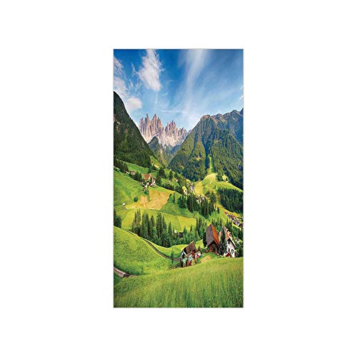 (3D Decorative Film Privacy Window Film No Glue,Nature,Alps in The Spring with Fresh Grass Sky and Majestic Mountains mage Art Decor,Green Blue,for Home&Office)