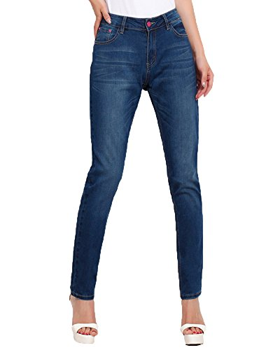 Femme Jeans Slim Skinny Petits Pieds lastiques Pantalons Jeggings Bleu fonc