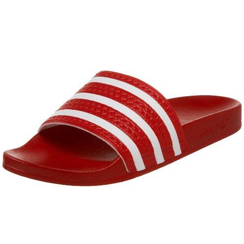 adidas Men's Adilette Slide Sandal Scarlet/White/Scarlet