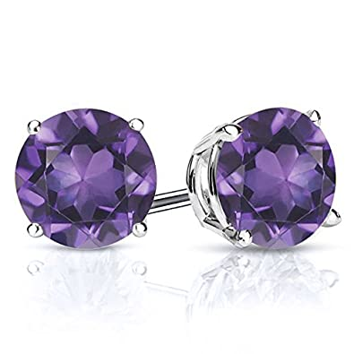 Gem Stone King 925 Sterling Silver Purple Amethyst Gemstone Birthstone Stud Earrings, 2.60 Ctw Round 7MM