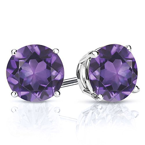 (Gem Stone King 925 Sterling Silver Purple Amethyst Gemstone Birthstone Stud Earrings, 2.60 Ctw Round)
