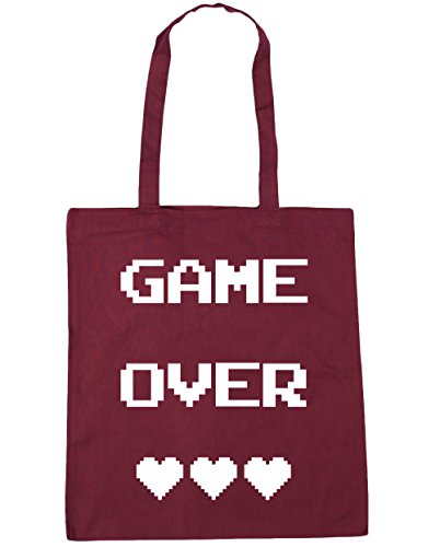 Hippowarehouse Game Over Shopping Bag Borsa Da Palestra 42cm X38cm, 10 Litri - Bordeaux, Taglia Unica