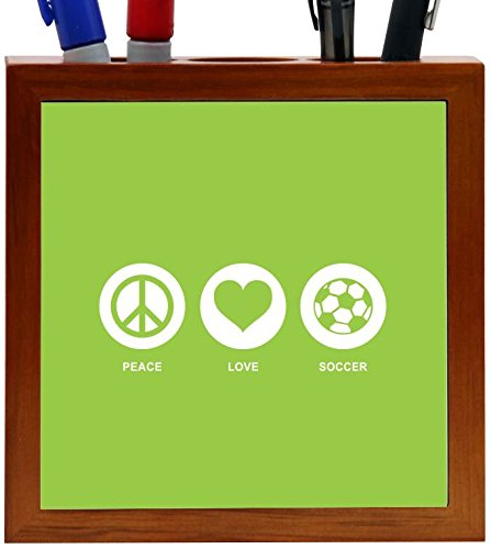 Rikki Knight Peace Love Soccer Lime Green Color Design 5-Inch Tile Wooden Tile Pen Holder (RK-PH42774) by Rikki Knight