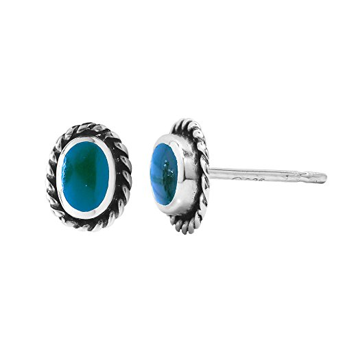 Boma Jewelry Sterling Silver Blue Turquoise Oval Rope Texture Stud Earrings