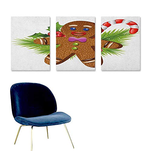 J Chief Sky Gingerbread Man,Custom Wall Stickers Cute Tasty Pastry on Coniferous Branches Candy Cane and Holly Berry Wall Picture Decoration Brown Green Red W24 x L36