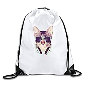 MAIQU Cool Cat Listening To Music Gym Sack Bag Drawstring Backpack Sport Bag