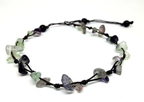 Purple and Green Fluorite Color Bead Anklet or Bracelet 26 cm.Handmade