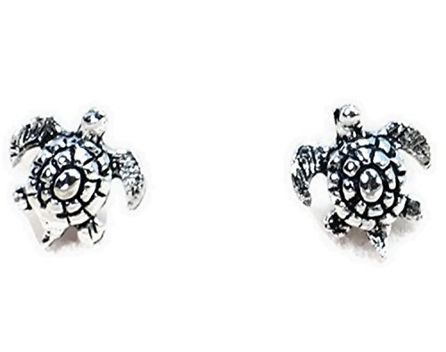 lver Earrings Black Oxidized Ear Stud Turtle from Naree2016. Made in Thailand (Gold Edelweiss Diamond)