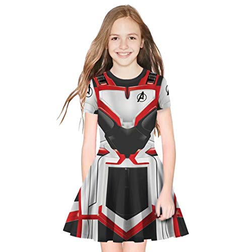 Tsyllyp Children Girls Superhero Endgame Quantum Realm Halloween Costume 3D Print Dress ()