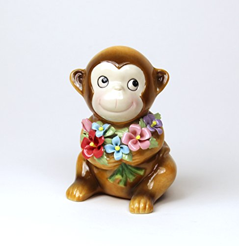 Cosmos 20926 Small Monkey with Flowers Ceramic Figurine