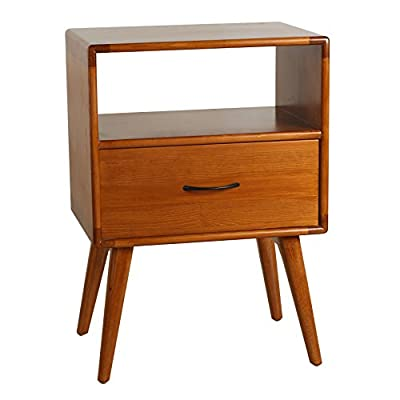 Porthos Home CB140A NAT Andrew Mid-Century Modern End Table with Shelf and Pull-Out Drawer, Crafted from Solid Pine Wood with Walnut Finish, Suitable for Small Living Rooms and Bedrooms, One Size, Natural - [A TOUCH OF PRACTICALITY AND STYLE] the Porthos Home sofa end table features a nifty size and clean lines that make it perfect for adding a pop of color and a squeeze of storage space - attributes that make mid-century pieces such well-loved classics [COFFEE END TABLE WITH SHELF AND DRAWER] featuring a shelf and pull-out drawer, the coffee end table is a charming place where you can showcase your cherished memorabilia and organize your knickknacks so they stay out of sight but always within easy reach [CRAFTED FROM SOLID PINE WOOD WITH WALNUT FINISH] lovingly crafted from solid pine wood and complemented by hardy walnut finish, this Porthos Home wood side table is durable and a dream to incorporate into any room - living-room-furniture, living-room, end-tables - 41eLZfzFSVL. SS400  -
