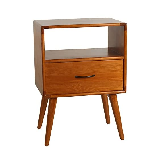Porthos Home Andrew Mid-Century Modern End Table with Shelf and Pull-Out Drawer, Crafted from Solid Pine Wood with Walnut Finish, Suitable for Small Living Rooms and Bedrooms, One Size, Natural - [A TOUCH OF PRACTICALITY AND STYLE] the Porthos Home sofa end table features a nifty size and clean lines that make it perfect for adding a pop of color and a squeeze of storage space - attributes that make mid-century pieces such well-loved classics [COFFEE END TABLE WITH SHELF AND DRAWER] featuring a shelf and pull-out drawer, the coffee end table is a charming place where you can showcase your cherished memorabilia and organize your knickknacks so they stay out of sight but always within easy reach [CRAFTED FROM SOLID PINE WOOD WITH WALNUT FINISH] lovingly crafted from solid pine wood and complemented by hardy walnut finish, this Porthos Home wood side table is durable and a dream to incorporate into any room - living-room-furniture, living-room, end-tables - 41eLZfzFSVL. SS570  -