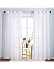 NICETOWN White Voile Curtains with Eyelet - Home Decoration Grommet Top Sheer Window Panels for Hotel (2 Pcs, 54 Inches Wide x 84 Inches Long, White)