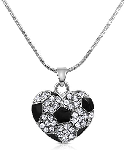 (Glamour Girl Gifts Small Crystal Heart Shaped Soccer Ball Necklace for Girls, Teens and)