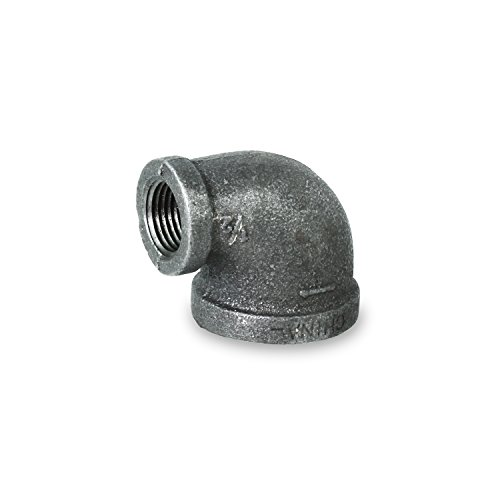 Everflow Supplies BMRL1120 Black Malleable Reducing Elbow Fitting for High Pressures with Female Threaded Connections, 1-1/2