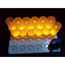 Back to 20s Restaurant Quality Rechargeable LED Tea Light Set of 12 - Amber - with Bonus Frosted Holders