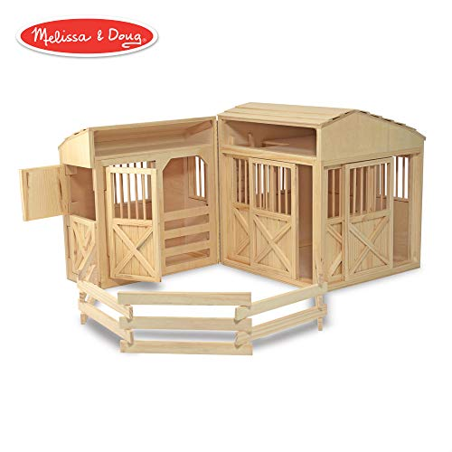 Melissa & Doug Folding Horse Stable (Pretend Play, Wooden Dollhouse With Fence, 7 Working Doors, Large Play Area)
