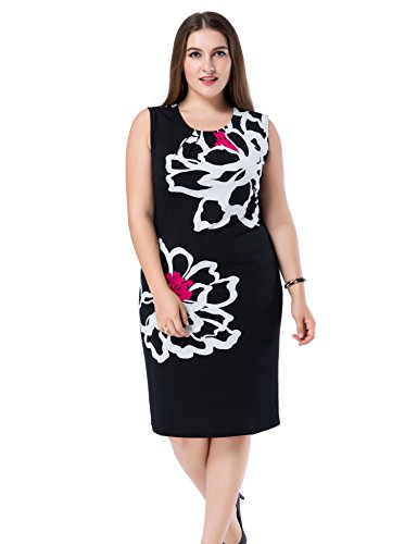 Chicwe Women's Plus Size Lined Floral Printed Sleeveless Dress - Knee Length Work and Casual Dress Fuscia 24