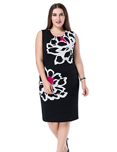 Chicwe Mujeres Tallas Grandes Vestido Forrado Estampado Floral Sin Manga - Vestido Casual en Oficina con Longitud a la Rodilla Fucsia/Negro