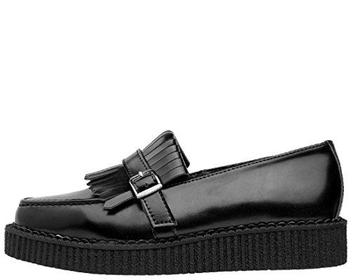 T.U.K. Shoes Black Leather Slip On Pointed Loafer Black