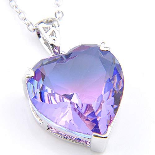 (Jewelryamintra Gorgeous Love Heart Purple Tourmaline Gemstone Silver Necklace Pendant)