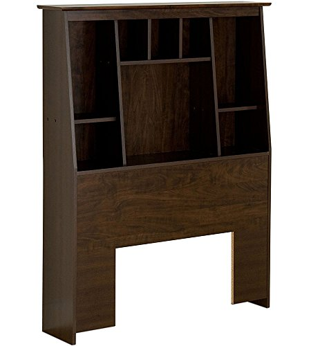 Prepac ESH-4556 Twin Tall Slant-back Bookcase Headboard, Espresso