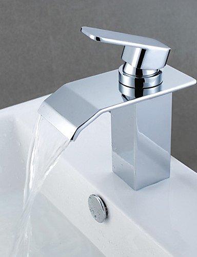 Zeitgen?ssische Chrome Finish Wasserfa?l Waschbecken Wasserhahn