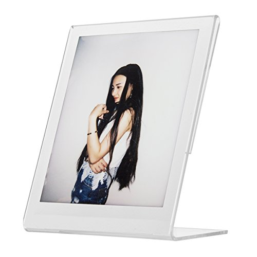 "Woodmin ""L"" Tabletop Slant Vertical Clear Acrylic Photo Frame for Fujifilm Instax SQUARE SQ10 - Michaels Sizes Frame Square"