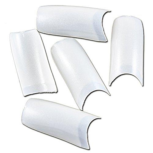 (enForten 500pcs Pearl White Acrylic Style Artificial Half French False Fake Nail Tips)