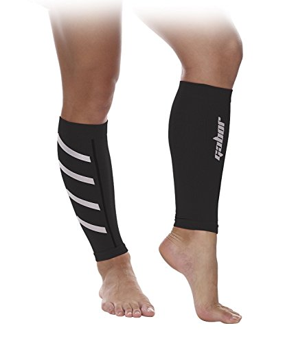 Gabor Fitness Graduated 20-25mm Hg Compression Running Leg Sleeves, Small, Black
