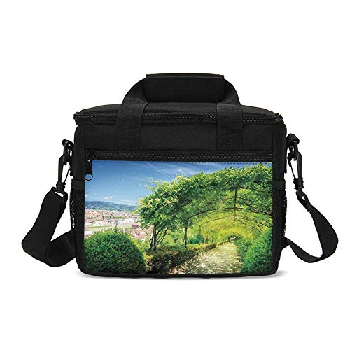 Italian Decor Durable Lunch Bag,Boboli Gardens in Florence Italy Famous Natural Landmark Tourist Attraction for Picnic Travel,9.4