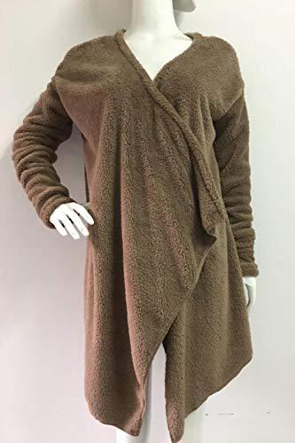 À Open Tops Veste Kaki Femmes Chaud Irrégulière Manches Furry Manteaux Longues Cardigan Front qwxRYt