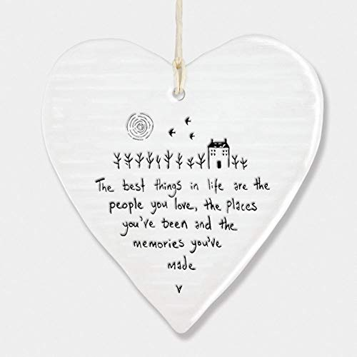 East Of India Hanging Porcelain Heart 'The Best Things in Life.' Gift