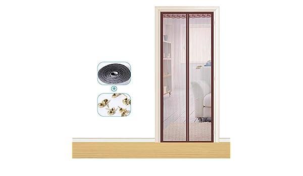 Puerta mosquitera magnética, pantalla antipolvo de encriptación de hilo suave, equipada con cinta mágica, cierre automático, transpirable silencioso antimosquitos, marrón: Amazon.es: Bricolaje y herramientas
