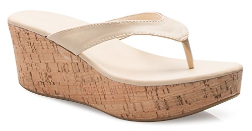OLIVIA K Women's Flip Flops Platform Thong Sandals Fashion Colors Wedge Heel Shoes