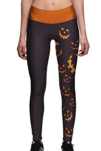 Halloween Leggings - COCOLEGGINGS Womens Halloween Pumpkin Print Active Workout Leggings Tights L