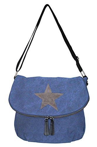 PiriModa - Bolso al hombro de Otra Piel para mujer Multicolor multicolor Modell 6 Jeansblau/Grau
