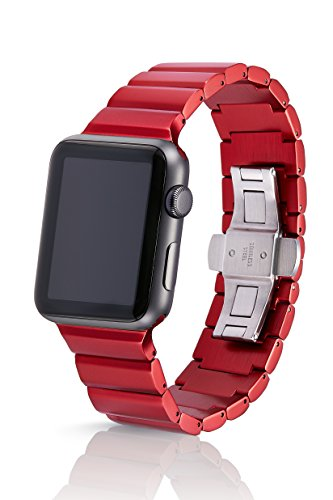 42mm JUUK Ruby Ligero Premium Apple Watch band, made with Swiss quality using the highest grade 6061 series aluminum with a solid steel butterfly deployant buckle (matte red) by JUUK