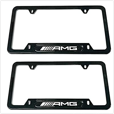 Auteal Car Stainless Steel Metal AMG License Plate Tag Frame Cover Holders w/Caps Screws for Mercedes Benz (2 Black): Automotive