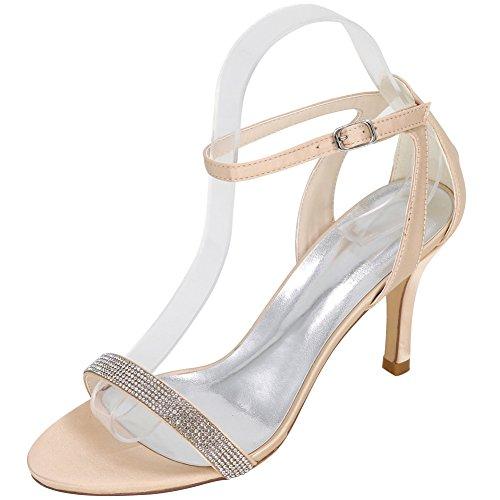 Loslandifen Donna Peep Toe Platform Tacchi Alti Cinturino Da Sposa Scarpe Da Sposa Sandali Champagne
