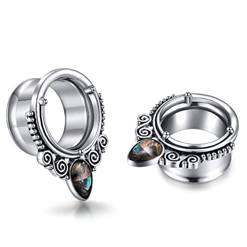 Angel King Abalone Ear Plug Tunnel Gauges Stretcher Piercing Jewelry for Women and Men ()